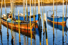 Traditional wooden boats in Lima river royalty free stock photos