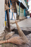 Traditional wooden brooms Royalty Free Stock Photos