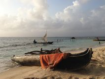 Traditional wooden canoe on he beach Royalty Free Stock Photo