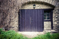 Traditional wooden castle door Royalty Free Stock Photo