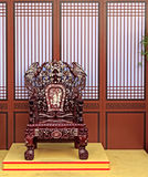 Traditional Wooden Chinese Armchair Stock Photo