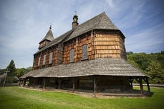 Traditional wooden church. With ethnographic values on a countryside Stock Photos