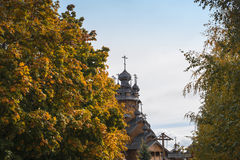 Traditional wooden church in the forest, Svjatogorsk city Royalty Free Stock Images