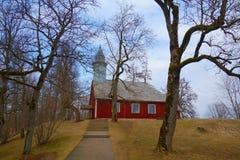 Old wooden Lutheran church in Turaida park, Sigulda, Latvia royalty free stock photos