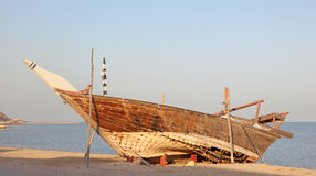 Traditional wooden dhow, Qatar. Traditional wooden dhow in Al Wakrah, Qatar, Middle East Stock Image