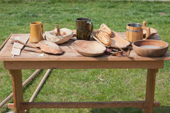 Traditional Wooden Dishes on a Table Outdoor Royalty Free Stock Images
