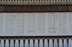 The traditional  wooden doors and balcony of ancient house, Thailand. Royalty Free Stock Photos
