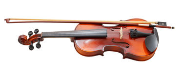 Traditional Wooden Fiddle With French Bow Stock Images