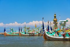 Traditional wooden fishing boats on Bali island Royalty Free Stock Photos