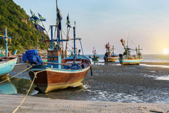 Traditional wooden fishing boats on the beach Stock Photo