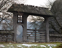 Traditional wooden gate in Maramures. Very old rural wooden gate in Maramures Stock Images