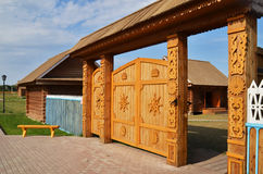 Traditional wooden gate in russian village Royalty Free Stock Photos