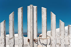 Traditional wooden gate on Santorini Royalty Free Stock Image