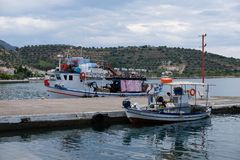 Traditional Greek Fishing Boats in Small Village Harbour, Greece Royalty Free Stock Photo