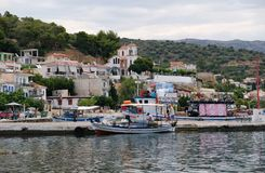 Traditional Greek Fishing Boats in Small Village Harbour, Greece Stock Image