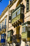 Traditional wooden green balconies, Malta Gozo Royalty Free Stock Images