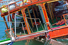 Traditional wooden Gulet cruise boat sinks Royalty Free Stock Photography