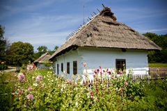 Traditional wooden house. Very old wooden house with ethnographic values on a countryside Stock Photos