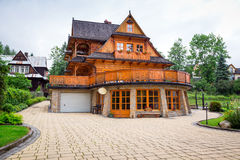 Traditional wooden house architecture in Zakopane Stock Image