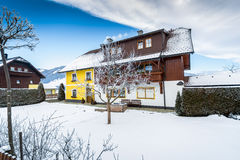 Traditional wooden house in Austrian Alps Royalty Free Stock Photography