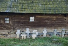 Traditional wooden house with crossess, Bucharest Royalty Free Stock Image