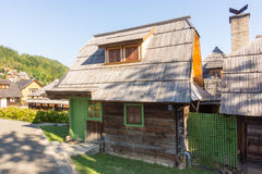 Traditional wooden house in Kusturica Drvengrad in Serbia Stock Photo
