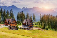 Traditional wooden house in the mountains on a green field Mount Royalty Free Stock Photos