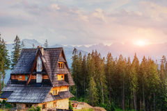 Traditional wooden house in the mountains on a green field Mount Stock Image