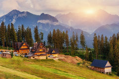 Traditional wooden house in the mountains on a green field Mount Stock Images