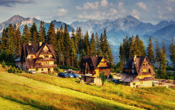 Traditional wooden house in the mountains on a green field Royalty Free Stock Image