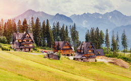 Traditional wooden house in the mountains Stock Photo
