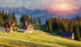 Traditional wooden house in the mountains Stock Photography