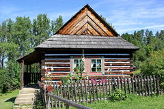 Traditional wooden house of north east region of Slovakia, open air museum in Stara Lubovna Stock Images