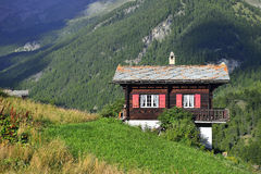 Traditional wooden house from Zermatt Royalty Free Stock Photo