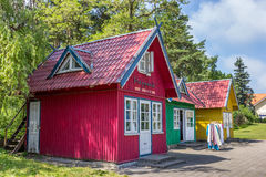 Traditional wooden houses on Curonian Spit Royalty Free Stock Photo