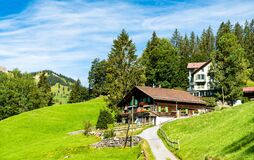 Free Traditional Wooden Houses In Wengen, Switzerland Stock Photo - 215285120