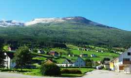 Traditional wooden houses in Invik, Norway Royalty Free Stock Photography