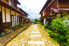 Traditional Wooden Houses Lining Nakasendo Magome Royalty Free Stock Photos