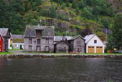 Traditional wooden houses in Lyrdal, Norway Royalty Free Stock Photo