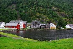 Traditional wooden houses in Lyrdal, Norway Stock Photo