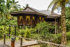 Traditional wooden houses. Malay Town House. In the Kuching to Sarawak Culture village. Borneo, Malaysia stock photo
