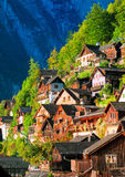 Traditional wooden houses on the mountain slope in Hallstatt, Au Royalty Free Stock Photo