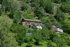 Traditional wooden houses near Geiranger, Norway Royalty Free Stock Images