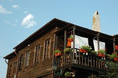 Traditional wooden houses of old Nesebar,Bulgaria Royalty Free Stock Photos