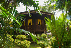 Traditional wooden houses Ruman Melayu. Kuching to Sarawak Culture village. Malaysia. Traditional wooden houses Ruman Melayu in the Kuching to Sarawak Culture Stock Photography