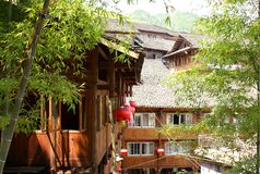 Traditional wooden houses in village, Southern China Royalty Free Stock Photos