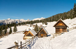 Traditional wooden hut in Alps Stock Photo