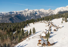 Traditional wooden hut in Alps Stock Image