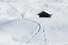 Traditional wooden hut in snow, Alps, Germany Stock Photos