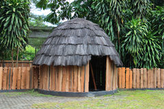 Traditional wooden huts Papuans Stock Images